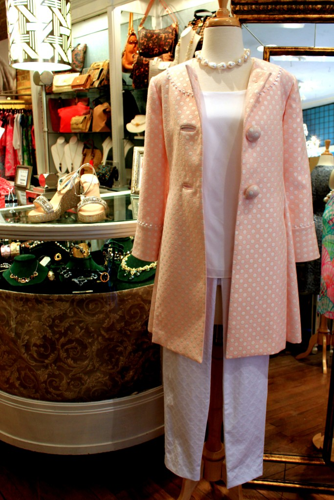 Sarah Campbell coat with Lilly Pulitzer